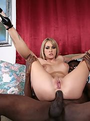 Dirty white chick gets her ass stretched out by a black cock