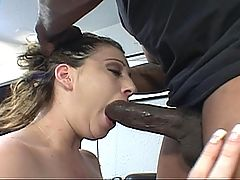 Chocolate cock craving white girl gets her fill