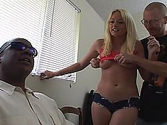 Blonde housewife shows off her oral and anal skills here