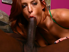 Redhead fucked hard by huge black dick