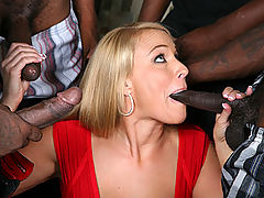 Hot blond in 4-on-1 interracial gangbang