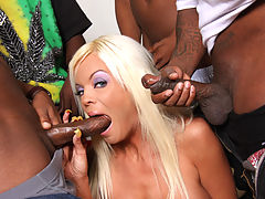 blond MILF fucks and sucks off 4 huge black dicks