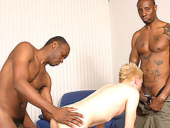 Gay white takes on 2 black dicks assfucked facials