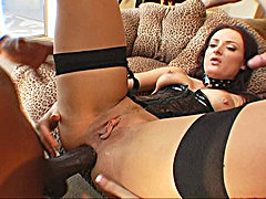 Fine pornstar Melissa sucking a black cock and screwing