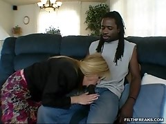 Horny mom takes a chance and tries on some dark meat for a change and likes it!