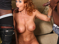 MILF Janet Mason does interracial gangbang 8-on-1