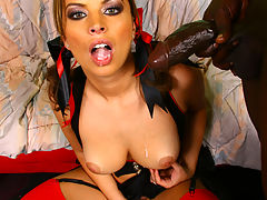 Brunette interracial gangbang with creampie