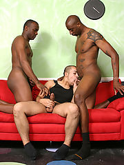 Interracial gay threesome assfucking & cumeating