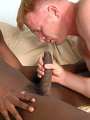 Muscular blonde gay interracial blowjob fuck