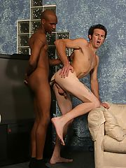 Twink does interracial blowjob assfucking gay