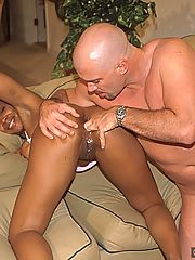 White stud sticking it to a busty black slut