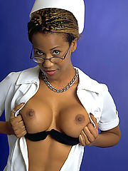 Horny black nurse showing off some black ass