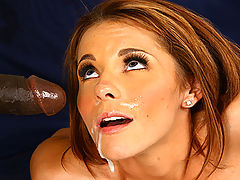 Redhead beauty fucks and sucks off huge black dick