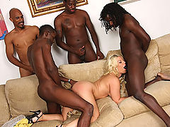 Hot blond slut does interracial gangbang 5-on-1