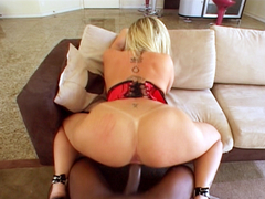Sara Jay sucks Justin Slayers big black monster cock
