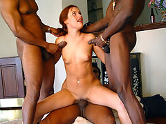 Teen in interracial anal gangbang eats cum