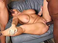 Hot blond fucks and sucks off 2 huge black dicks