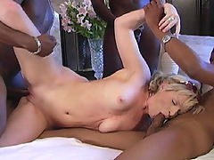 Just 18 blonde in interracial gangbang, & cumeating