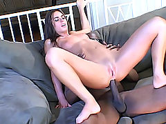 White girl rides a black dick with her ass