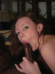 Sexy brunette riding big black cock on couch