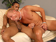 Gay Blond sucks black dick & assfucked