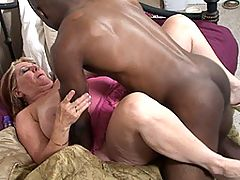 Chunky mama fucking a well hung black dude