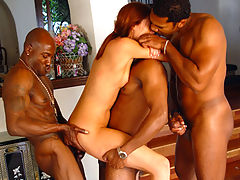Petite girl takes 3 black cocks