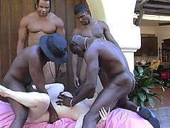 18 year old with big tits in interracial gangbang